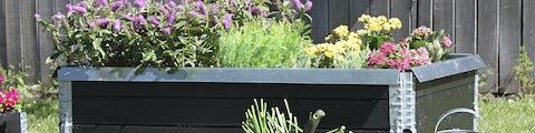 Bredt udvalg af højbede og blomsterkasser