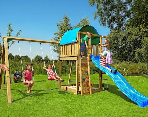 Legetårn fra Jungle Gym til børn med klatrevæg, gynger og rutsjebane